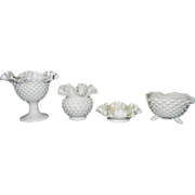 Vintage Fenton Milk Glass Hobnail Candy Dishes