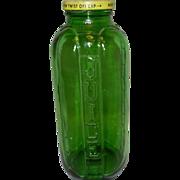 Vintage Green Glass Refrigerator Juice and Water Jar