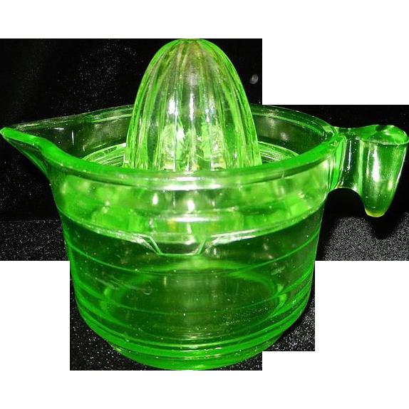 Vintage U S Glass Green Uranium Glass Reamer and Measuring ...