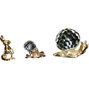 24 Kt Gold Plated and Crystal Figurines: Octopus Snail and Rabbit