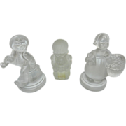 Vintage Goebel Hummel Frosted Glass Figurines: Wandering Boy and Girl with Flower Basket and Bear