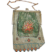 Vintage Whiting & Davis Enameled Mesh Bag With Three Dimensional Flower