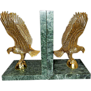 Vintage Gold Tone and Marble Eagle Bookends