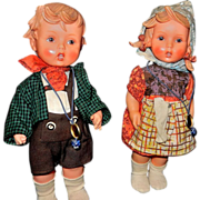Vintage Pair of Rubber Hummel Dolls 1700 pattern