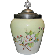 Vintage Custard Glass Biscuit Jar-Apple Blossoms