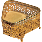 Vintage 22 kt Gold Filigree Beveled Glass Jewelry Casket or Box