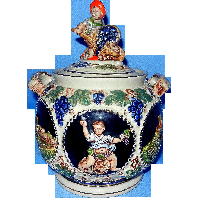 Vintage Gerz 2 Liter Stoneware Figural Cookie Jar From