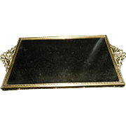Vintage Ormolu Mirrored Vanity Tray with Cherubs