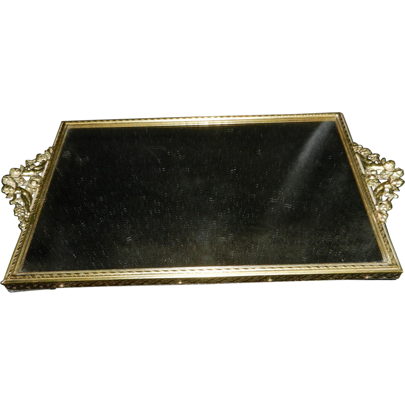Vintage ormolu mirrored vanity tray with cherubs sold on for Mirrored bathroom tray
