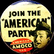 Vintage Amoco American Oil Company Pinback Button