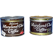 Vintage One Pound Maryland Club Key Wind Coffee Tins