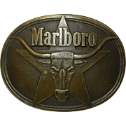 Vintage Solid Brass Marlboro Belt Buckle 1987