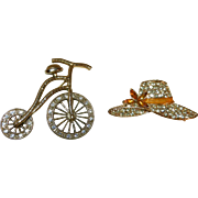 Vintage Brooches or Pins - Bicycle and Hat- Rhinestone and Gold Plate