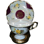 Vintage Norcrest China Iridescent Lusterware Footed Tea Cup and Saucer -
