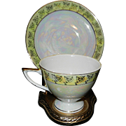 Vintage Wales China Iridescent Lusterware Footed Tea Cup and Saucer