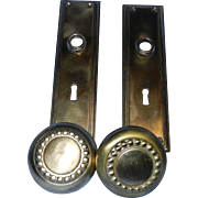 Vintage Solid Brass Door Hardware Set- Door Knobs and Plates