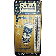 Vintage Scott Towels 50th Anniversary Marketing Wall Thermometer