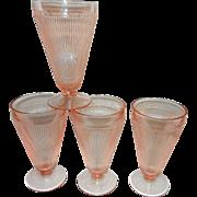 Vintage Jeannette Glass Pink Soda Glasses Homespun Pattern