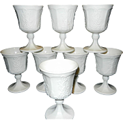 Vintage Milk Glass Goblets Harvest Pattern Indiana Glass