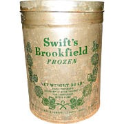 Vintage 30 lb. Swift's Brookfield Tin Frozen Food Container