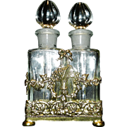 Vintage 1950's Globe 24 kt Gold Plated Ormolu Perfume Case with Two Applicator Bottles