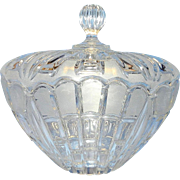 Vintage Scalloped Lid Frosted Glass Candy Dish