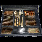 Vintage Besteck Solingen Germany 23/24 Kt Gold Plated Cutlery Set pattern SBB6