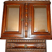 Antique Oak Wall or Medicine Cabinet with Double Doors and Mirrors
