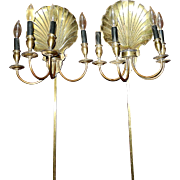 Vintage Solid Brass Scallop Shell Sconce Wall Lamps