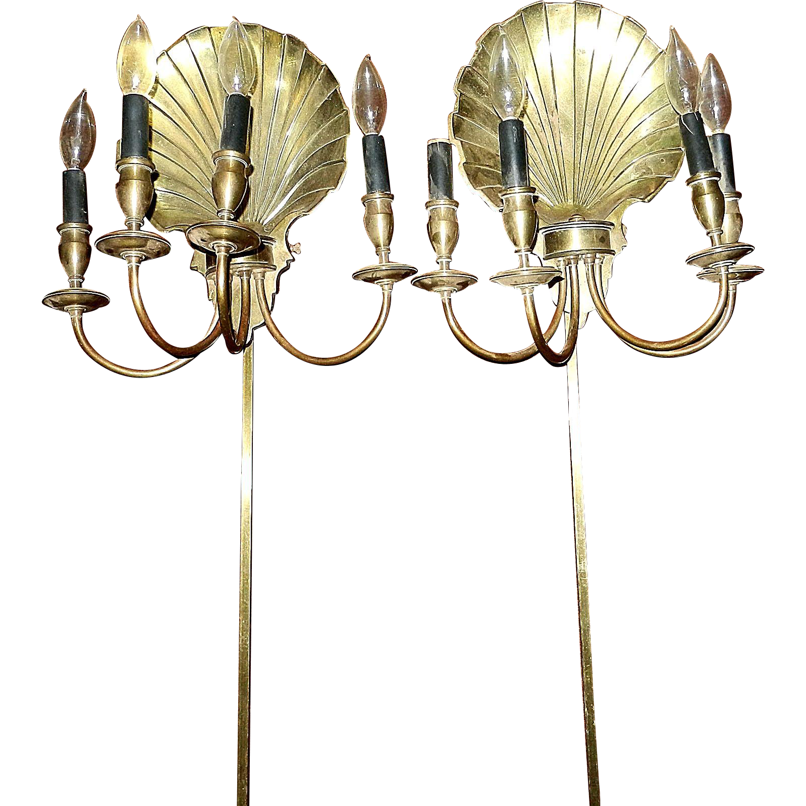 Brass Shell Wall Lights : Vintage Solid Brass Scallop Shell Sconce Wall Lamps from mygrandmotherhadone on Ruby Lane