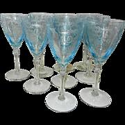 Vintage Fostoria Versailles Blue Water Goblet Pattern 5098- Etch Pattern 278