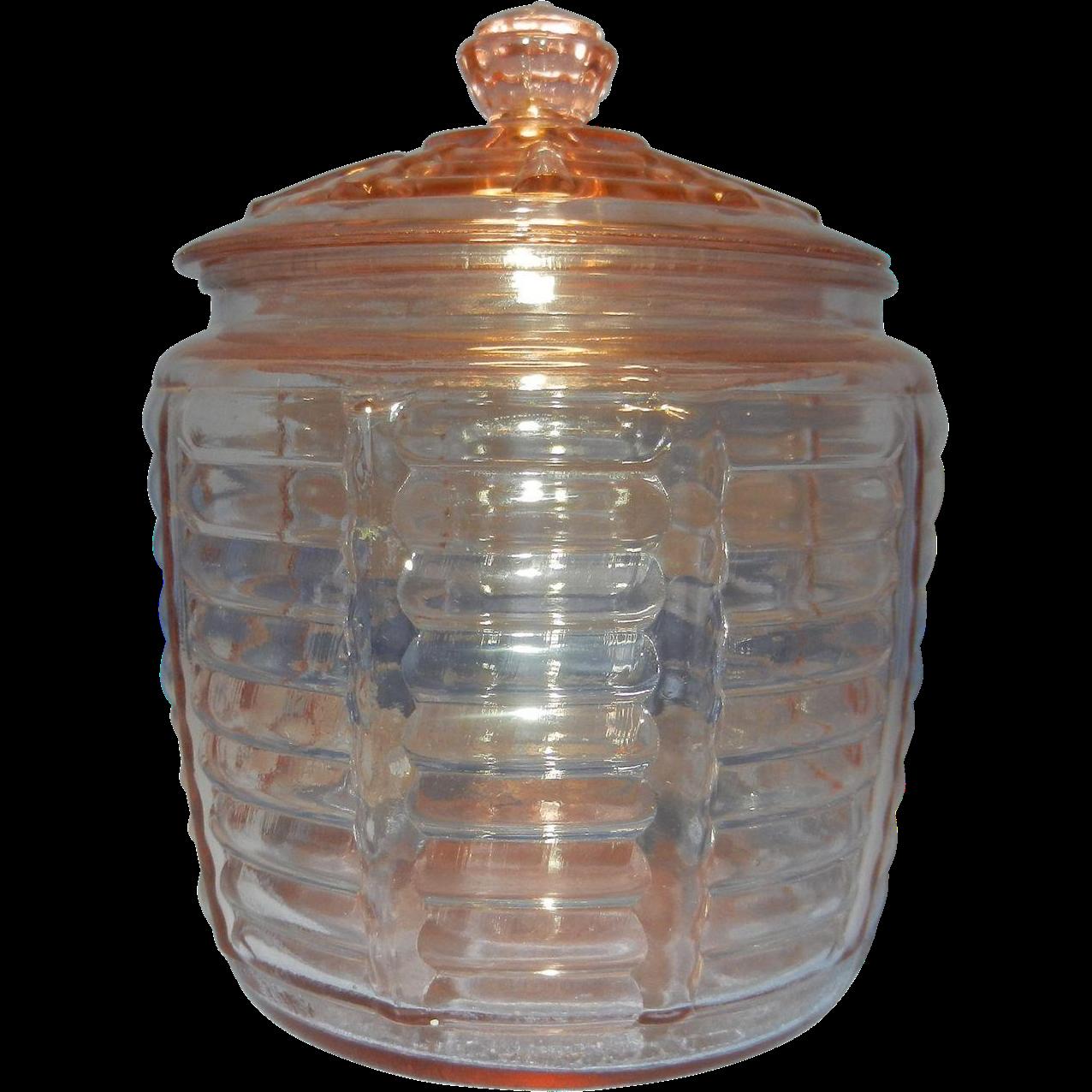 Vintage pink hocking paneled and ribbed beehive cookie or biscuit jar from mygrandmotherhadone - Beehive cookie jar ...