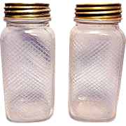 Vintage Hazel Atlas Lattice/Diamond Pattern Embossed Quart Jars
