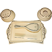 Vintage Art Deco Style Vanity Set Stamped Ivory Pyralin Dubarry
