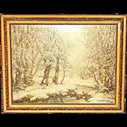 Vintage Impressionist Constantin Westchiloff Winter Landscape Lithograph