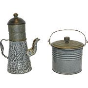 Vintage French or Biggin Gray Graniteware or Enamelware Coffee Pot and Berry Pail