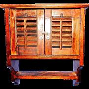 Vintage Primitive Wooden Spice Rack with Shutter Doors