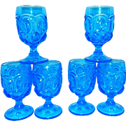 Vintage Colonial Blue Moon and Stars Water Goblets