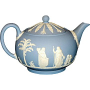 Vintage Wedgwood Cream Color on Wedgwood Blue Jasperware Teapot & Lid Discontinued Pattern