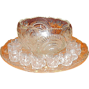 Antique U.S. Glass Slewed Horseshoe- Radiant Daisy or Radiant Peacock Punch Bowl with Cups and Glass Ladle.