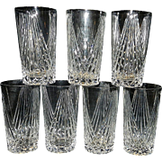 Vintage Crystal Fan Design Water Tumblers