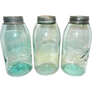 Antique Ball Mason Half Gallon Fruit Jars- Triple L Logo-1896-1910