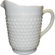 Vintage Anchor Hocking Milk Glass 65 oz Hobnail Pitcher
