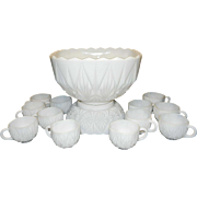 Hazel Atlas Williamsport Pattern Milk Glass Punch Bowl