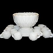 Hazel Atlas Williamsport Pattern Milk Glass Punch Bowl