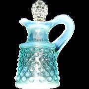 Vintage Fenton Blue Opalescent Hobnail Cruet