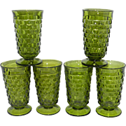 Vintage Avocado Green Whitehall Cubist Block Iced Tea or Water Glasses