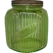 Vintage Depression Green Uranium Glass Ribbed Canister or Cookie Jar Hoosier Style
