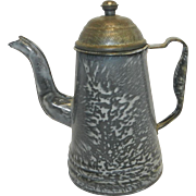 Vintage Gray Swirl Granite Ware Goose Neck Coffee Pot
