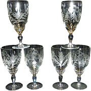 Vintage Intaglio Wine Glasses